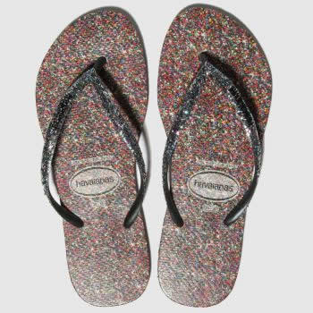 Havaianas Black & Silver Slim Carnival Womens Sandals#