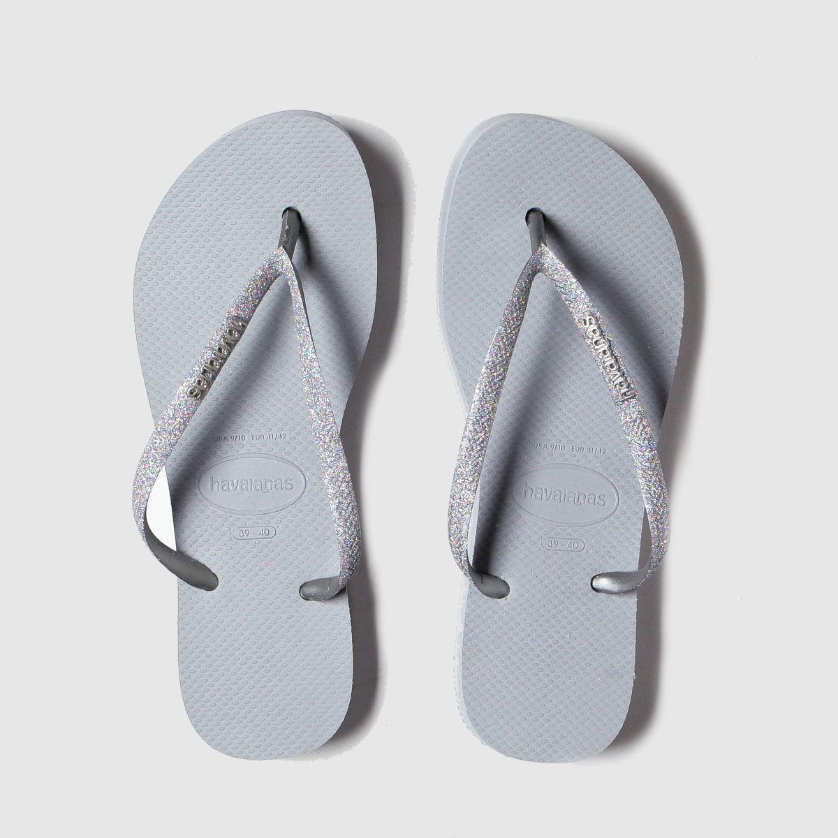 Havaianas Silver Flatform Glitter Sandals
