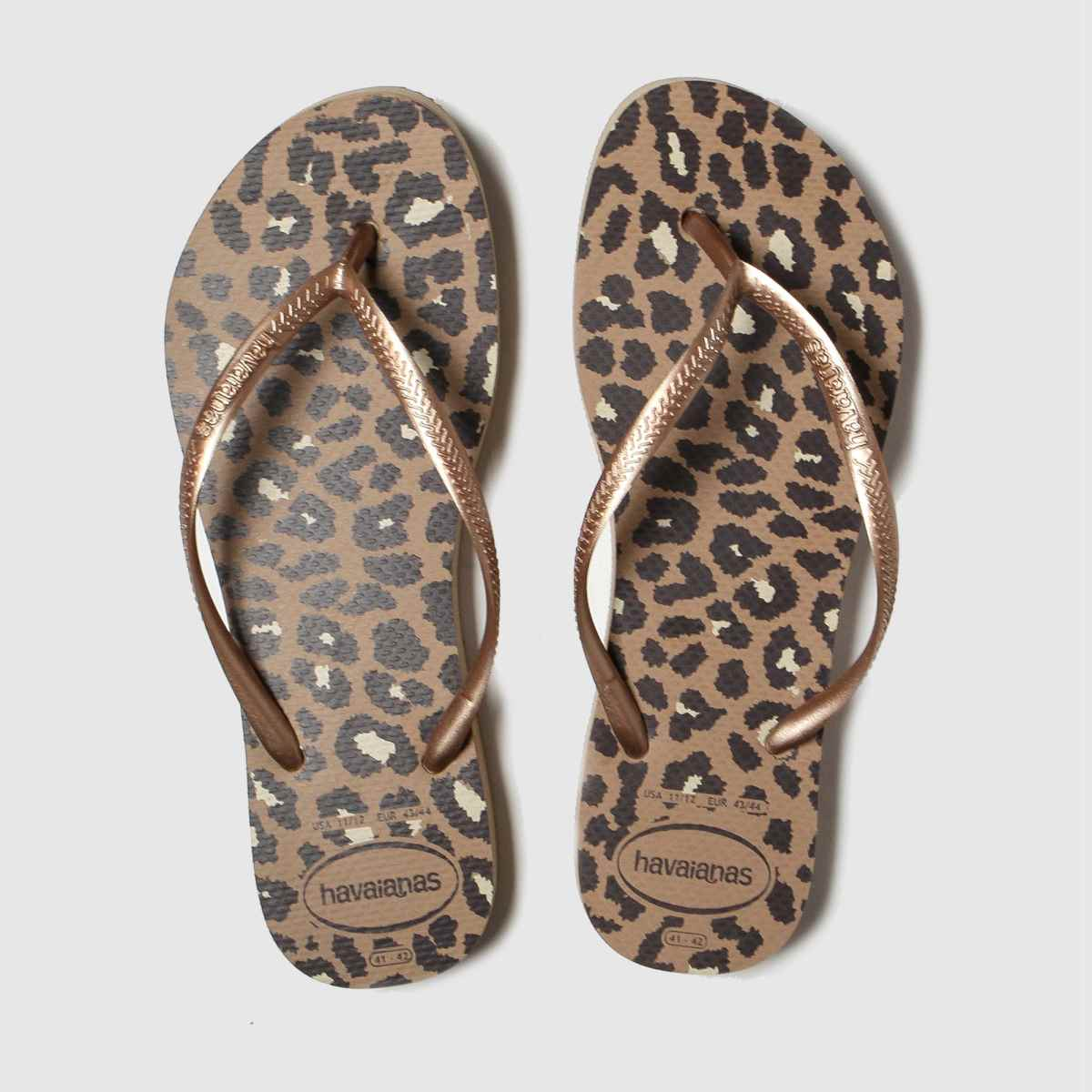 Havaianas Brown & Black Flatform Animal Sandals