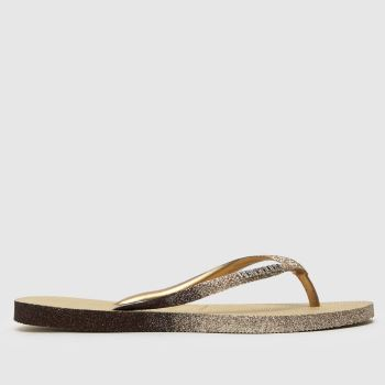 Havaianas Gold Slim Sparkle Womens Sandals#