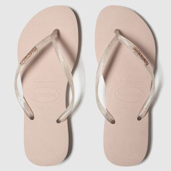Havaianas Pink Slim Logo Met Clear c2namevalue::Womens Sandals