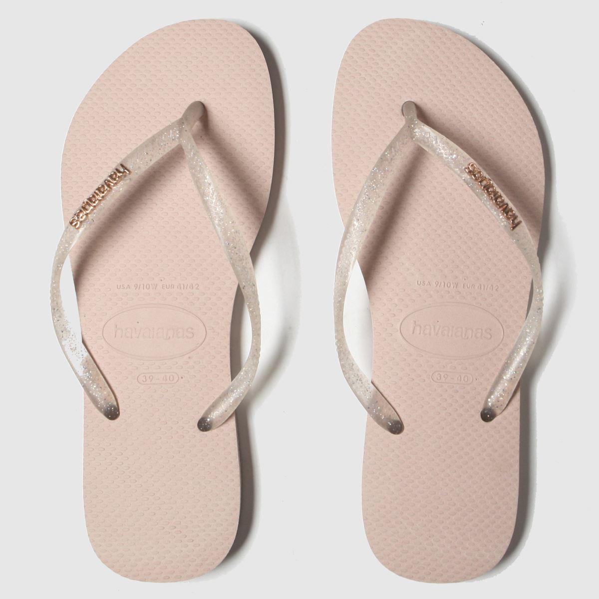 Havaianas Pink Slim Logo Met Clear Sandals