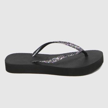Havaianas Black Slim Glitter Flatform Womens Sandals