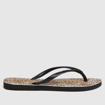 Havaianas Brown & Black Slim Leopard Womens Sandals