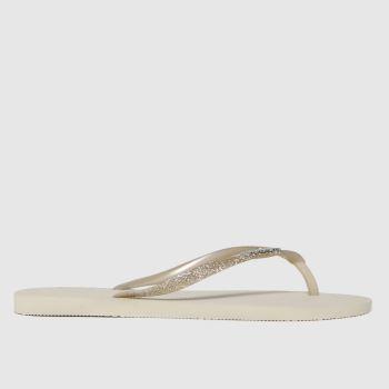 Havaianas Beige Slim Glitter Womens Sandals