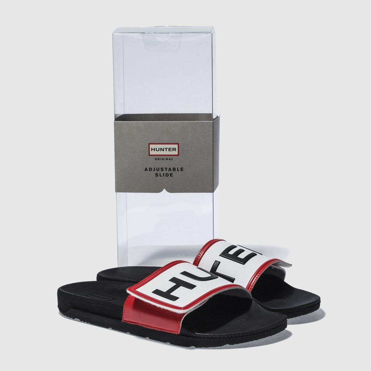 Damen Schwarz hunter Adjustable Logo Slide Sandalen beliebte | schuh Gute Qualität beliebte Sandalen Schuhe f49dea