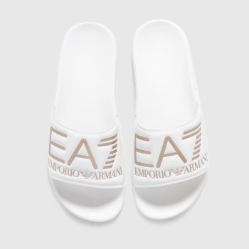 Ea7 Emporio Armani White & Gold Seaworld Visibility Slide Womens Sandals
