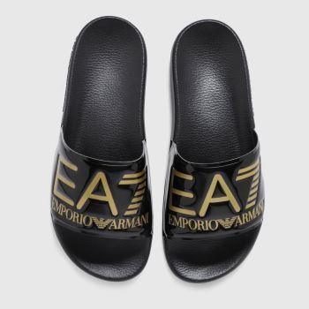 Ea7 Emporio Armani Black & Gold Seaworld Visibility Slide Womens Sandals