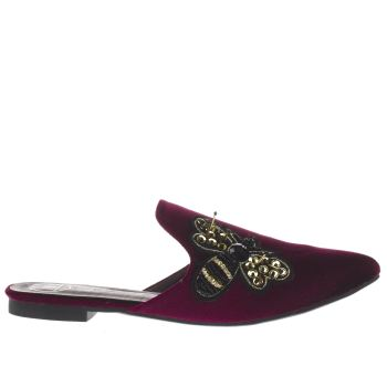 MISSGUIDED BURGUNDY EMBROIDERED BEE MULE SANDALS
