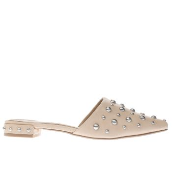 MISSGUIDED NATURAL ALL OVER STUDDED POINTED MULE SANDALS