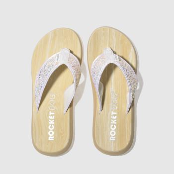 ROCKET DOG WHITE SPOTLIGHT GLITTER SANDALS