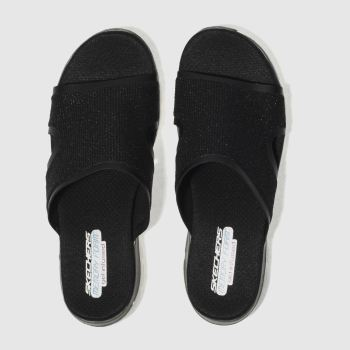SKECHERS BLACK FLEX APPEAL 2.0 SUMMER JAM SANDALS