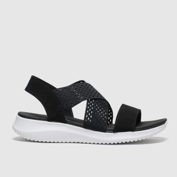 SKECHERS Black & White Ultra Flex Neon Star Womens Sandals