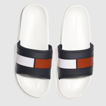 Tommy Hilfiger White & Navy FLAG POOL SLIDE Sandals