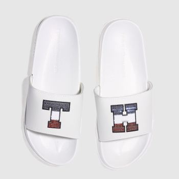Tommy Hilfiger White Sequins Sparkle Pool Slide Womens Sandals