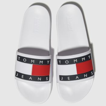 Tommy Hilfiger White Tj Flag Pool Slide Womens Sandals