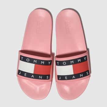 cheaper 16d28 d6ebb Tommy Hilfiger Pink Tj Flag Pool Slide Womens Sandals
