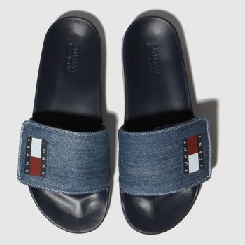 Tommy Hilfiger Blau Tj Denim Pool Slide Damen Sandalen