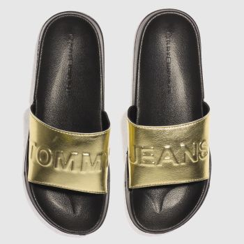 Tommy Hilfiger Black Tj Metallic Pool Slide Womens Sandals