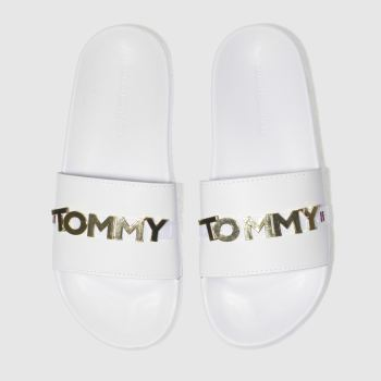 Tommy Hilfiger White & Gold BEACH SLIDE Sandals