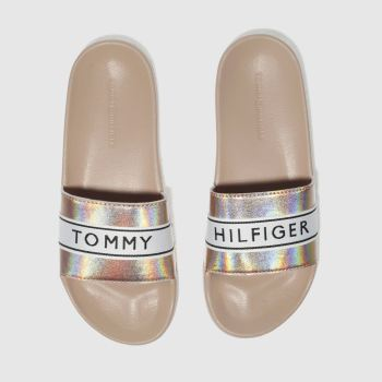 Tommy Hilfiger Pale Pink Mirror Sparkle Beach Slide c2namevalue::Womens Sandals