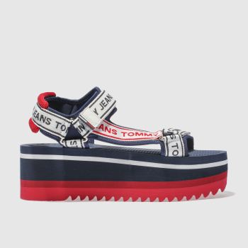 TOMMY HILFIGER NAVY & WHITE TJ TECH FLATFORM SANDALS