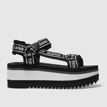 Tommy Hilfiger Black Tj Tech Flatform Womens Sandals