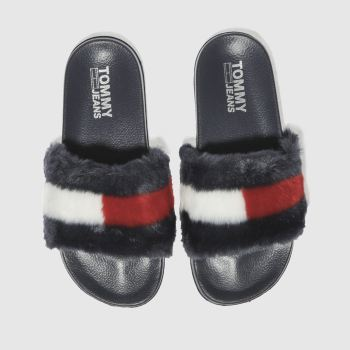 88d2b6a945f2d9 womens navy tommy hilfiger tj funny fur pool slide sandals