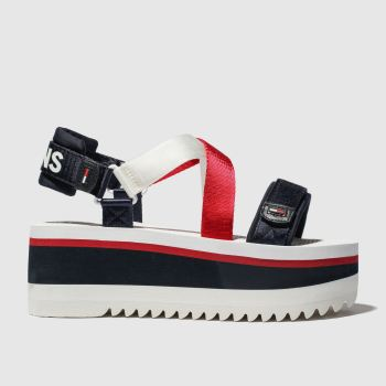 Tommy Hilfiger White & Navy Tj Sporty Neoprene Flatform Womens Sandals