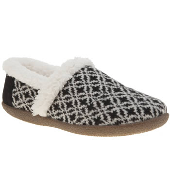 TOMS BLACK & WHITE HOUSE SLIPPERS
