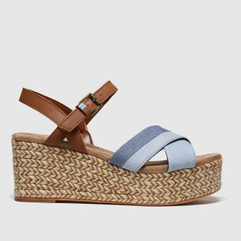Toms Blue Willow Wedge Womens Sandals