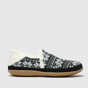 toms black & white india slippers