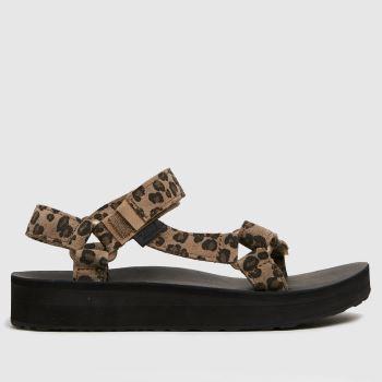 Teva Black & Brown Midform Universal Leopard Womens Sandals