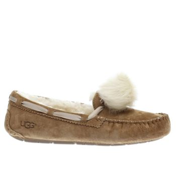 UGG TAN DAKOTA POM POM SLIPPERS