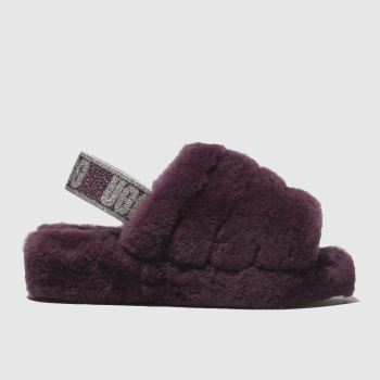 Ugg Burgundy Fluff Yeah Slide Womens Sandals