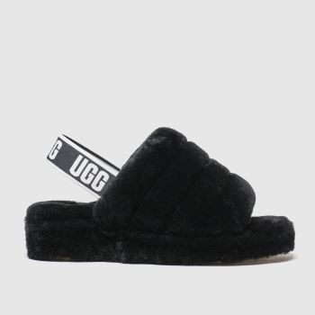 Ugg Black Fluff Yeah Slide Womens Sandals#