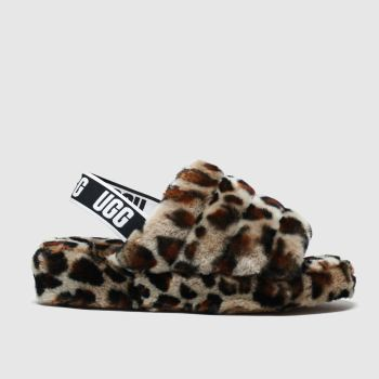 Ugg Brown & Black Fluff Yeah Slide Womens Slippers