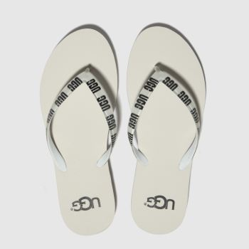 Ugg White & Black Simi Graphic Womens Sandals
