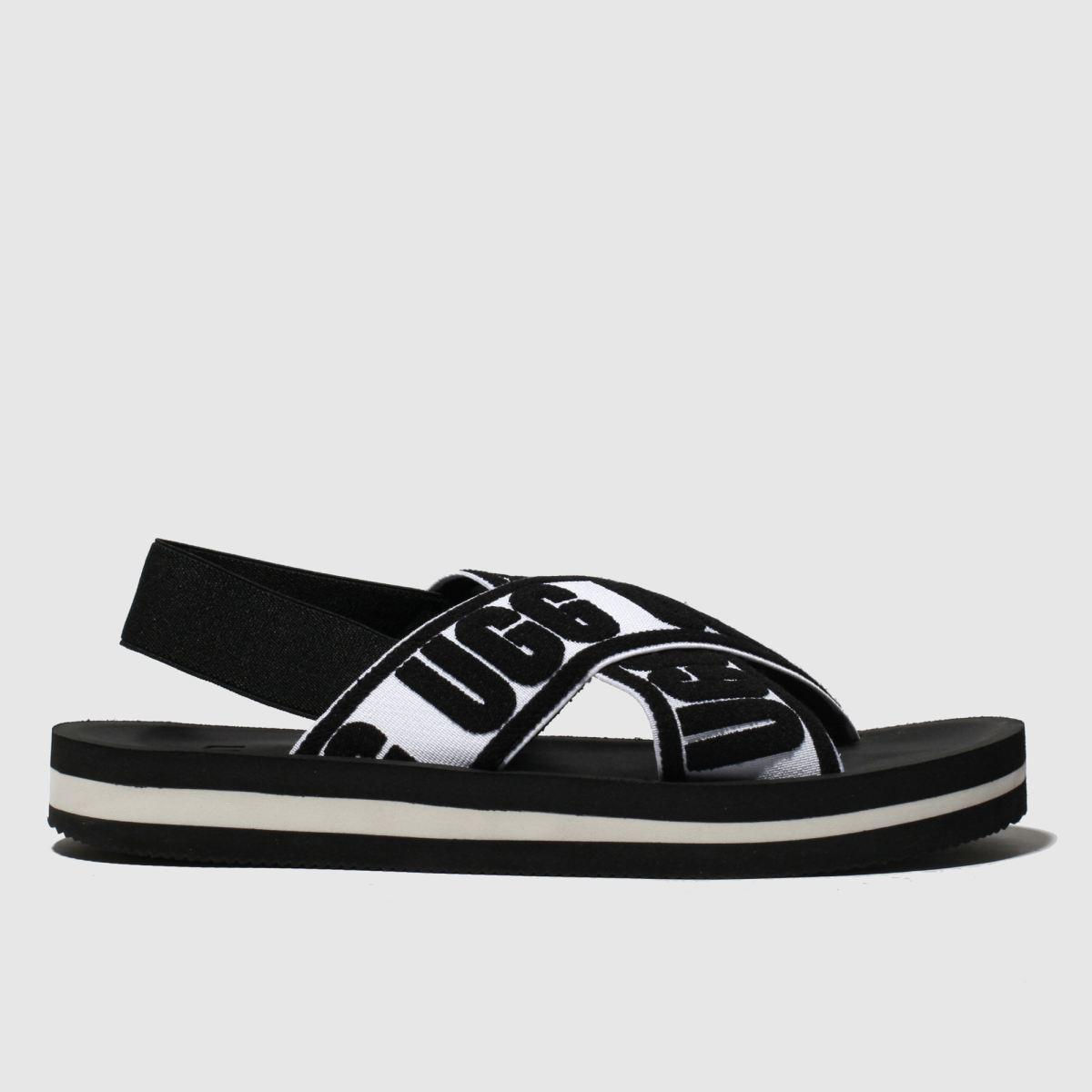 Ugg Black & White Marmont Graphic Sandals