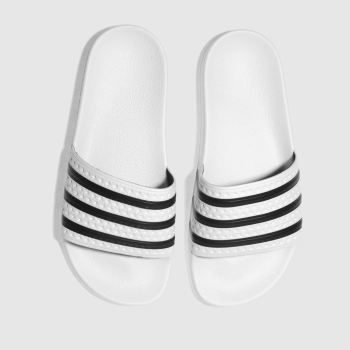 Adidas White & Black Adilette Slide Womens Sandals
