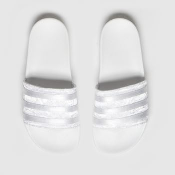 adidas White & Gold Adilette Womens Sandals