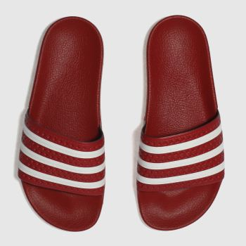 discount 851ce b5ee8 ADIDAS RED ADILETTE SLIDE SANDALS