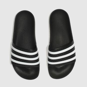 adidas Black & White Adilette Slide Womens Sandals