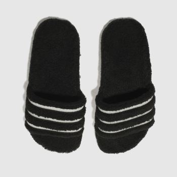 Adidas Black Adilette Teddy Slide Womens Sandals