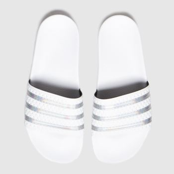 adidas White & Silver Adilette Womens Sandals