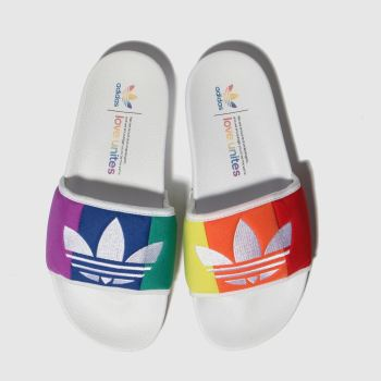 adidas white & blue adilette pride slide sandals
