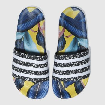 Adidas Yellow & Blue Adilette Farm Slide Womens Sandals