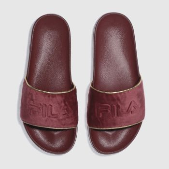 Fila Burgundy Drifter Border Velvet Womens Sandals