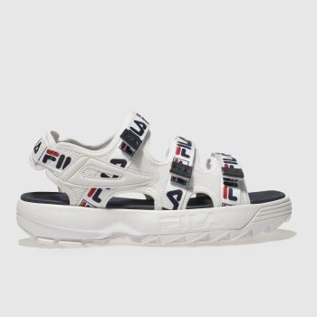 Fila White & Navy Disruptor Womens Sandals