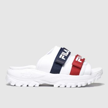 Fila White & Navy Outdoor Slide Womens Sandals